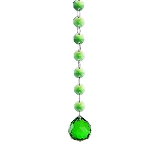 H&D 1 Meter K9 Crystal 14mm Octagon Beads Chain And 30mm Crystal Ball Prism Hanging Wedding Decoration (Green) (14mm 1 Glass Bead)