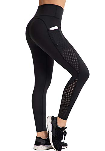UURUN High Waisted Yoga Pants Workout Leggings for Women with Pockets Tummy Control Non-See-Through Mesh Running Compression Leggings for Exercise Fitness Gym Athletic Black-L