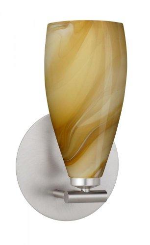 Besa Lighting 1SX-7198HN-SN 1X40W G9 Karli Wall Sconce with Honey Glass, Satin Nickel Finish