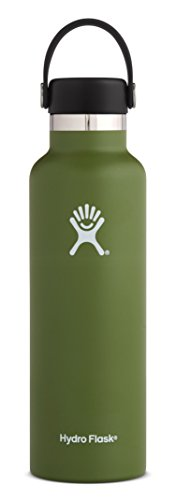 Hydro Flask 21 oz Double Wall Vacuum Insulated Stainless Steel Leak Proof Sports Water Bottle, Standard Mouth with BPA Free Flex Cap, Olive