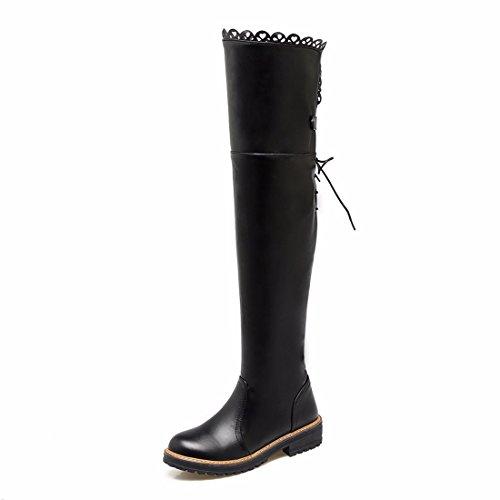 pueden agregar encajes tamaño de black altas botas cachemir el de amarre botas invierno El botas otoño mujer la posterior y de muslo w8qXCUIpx