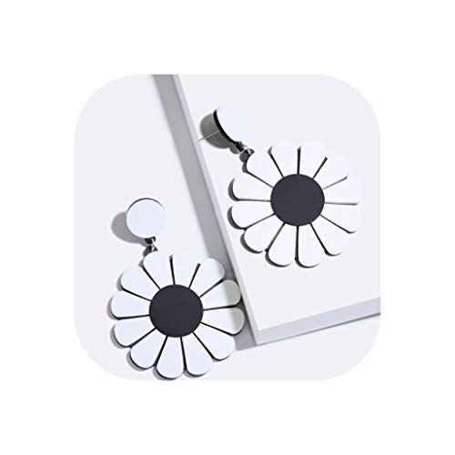 YY Cherry 6 Colors Resin Sun Flower Earrings Ancient Retro Jewelry Summer Party Earring,Black