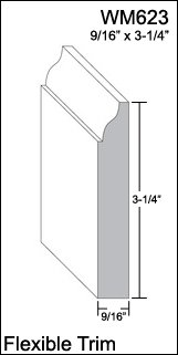 "Flexible Moulding - Flexible Base Moulding - WM623 - 9/16"" X 3-1/4"" - 8' Length - Flexible Trim"