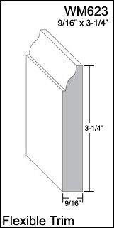 Wood Baseboard Molding (Flexible Moulding - Flexible Base Moulding - WM623 - 9/16