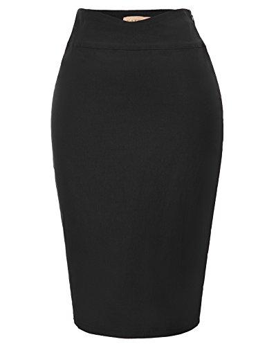 Wear Black Pencil Skirt - Kate Kasin Women's High Waisted Midi Slim Bodycon Ruffled Pencil Skirt Size XL Black KK926-1