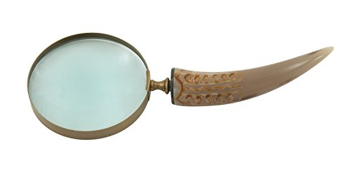 Deco 79 Exquisite Brass Horn Magnifying Glass