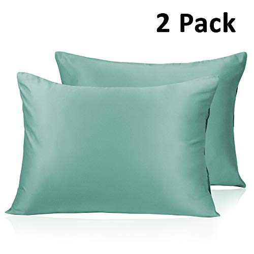 Adubor Silk Satin Pillowcase 2 Pack Silky Pillow Cases for Hair and Skin, Hypoallergenic Anti-Wrinkle, Super Soft and Luxury Pillow Cases Covers with Envelope Closure (Green, 20x36)