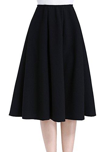 Sólido Midi plisado faldas Yacun mujeres Black