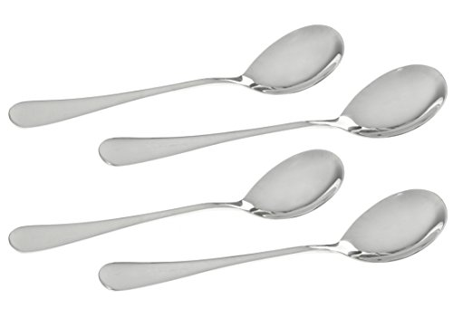 Seikei Stainless Steel Oval Spoons for Soup, Table, Dinner Flatware - 4 Oval Soup Spoons