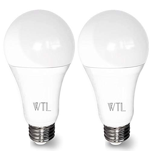 3-Way Led Light Bulb 50-100-150W, 500-1600-2100LM High Lumens and 4000K Natural White, A21 E26 Medium Base Bulb for Table Lamp, 2 Packs by WTL