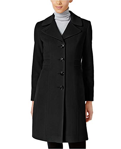 Anne Klein Women's Wool-Blend Walker Coat Black 10 Anne Klein Womens Trench Coat