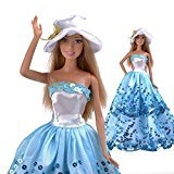 elegantstunning Blu Princess Wedding Party Vestiti Vestito per Bambola Barbie