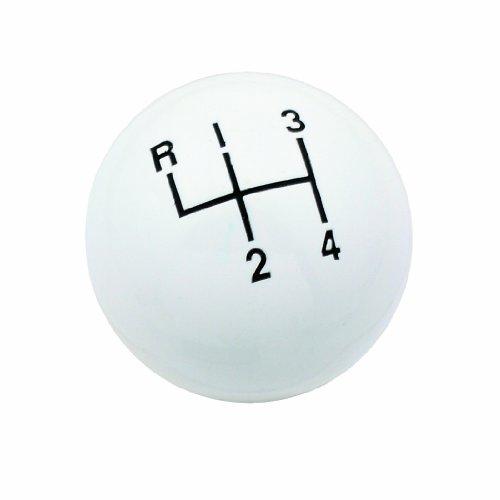 Mr. Gasket 9618 White 3/8-16 UNC Classic 4 Speed Round Ball Shift Knob