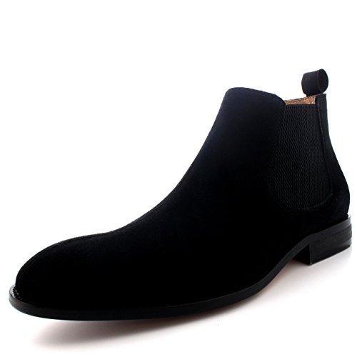 Queensbury Harvey Uomo Gherone Chelsea Mid Cut Beatle Caviglia Scarpe Stivali Nero