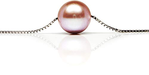 HinsonGayle AAA GEM 10-10.5mm Pink Round Freshwater Cultured Pearl Solitaire Necklace Silver-18 in length ()