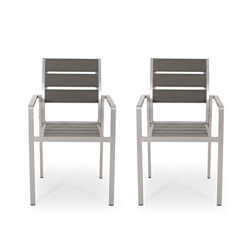 Belle Outdoor Modern Aluminum Dining Chair with Faux Wood Seat (Set of 2), Gray and Silver