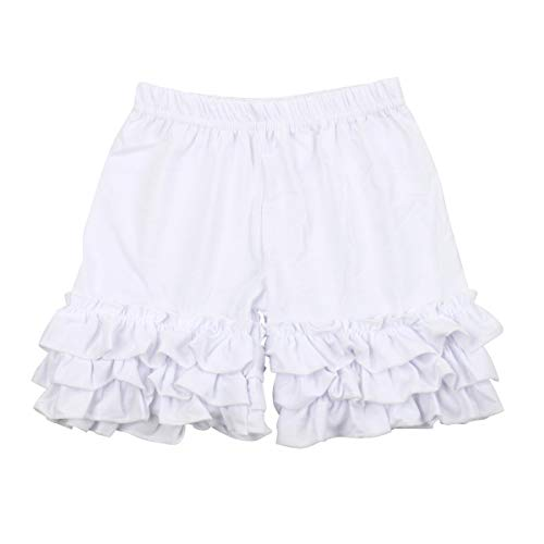 - Slowera Baby Girls Cotton Ruffles Shorts Pants (White, 6-12 Months)