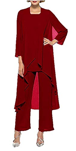 Size Chiffon Bride Pants Women's Mother 3 Dress Suits Everbeauty Pieces Graceful Plus Red 4nOTqPfwfS