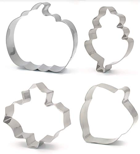 Fall Cookie Cutter - American Confections - Thanksgiving, Leaf, Pumpkin, Acorn - Set of 4 -