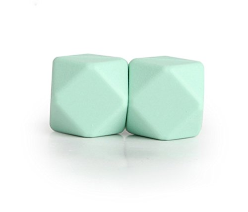 Baby Box 50 pcs Silicone Hexagon Beads Baby Teething Toy 14mm for DIY Making Necklace Bracelet ( mint green )