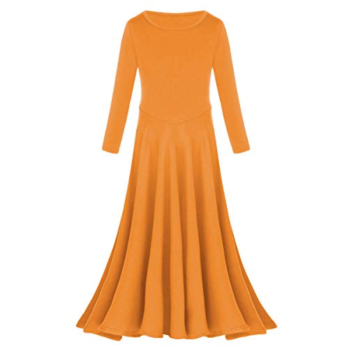 Kids Girls Long Sleeve Liturgical Praise Dance Dress Loose Fit Full Length Swing Maxi Gown Ruffle Tunic Circle Party Skirt Worship Dancing Costume Orange 5-6 Years