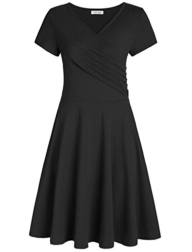 Pintage Women's Surplice V Neck Knee Length Wrap Dress XL Black ()