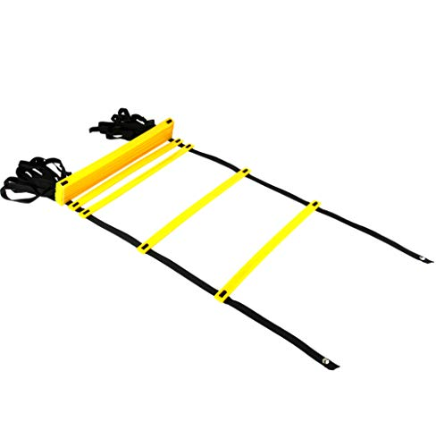 REEHUT Durable Agility Ladder W/Bonus Carry Bag - Speed Training Equipment for High Intensity Footwork - Great for Soccer Workout, Football Drills, Basketball and More - Yellow, 12 Rungs