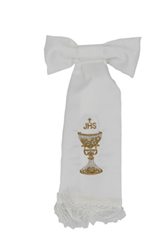 First Holy Communion White Boy Armband with Embroidered Accents Chalice