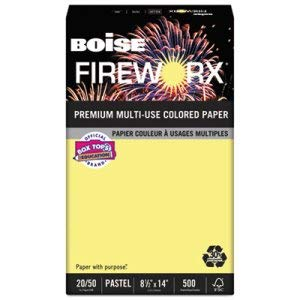 Boise Cascade FIREWORX Colored Paper, 20lb, 8-1/2 x 14, Crackling Canary, 500 Sheets/Ream (4 Reams)
