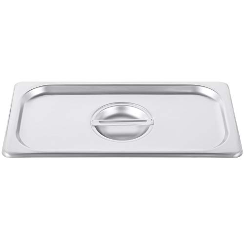 1/3 Size Stainless Steel Solid Steam Table Pan Cover, Kitma Pan Lids, Non-Stick Surface, Lid for 1/3 Size Steam Pans with Handle - 12 Pack