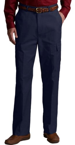 Edwards Garment Men's Casual Flat Front Chino Blend Pant, NAVY, 36 35 - Mens Blended Chino