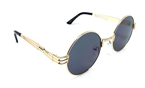 XL Oversized Round Classic Luxury Steampunk Sunglasses (Gold Metallic Frame, - Biggie Sunglasses