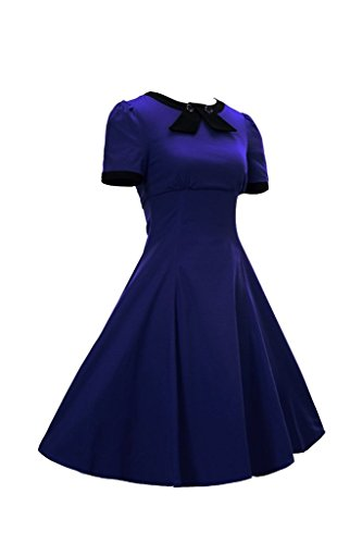 Kleid Sommerkleid Rundhals Blau 50s Faltenrock Cocktailkleid Retro Business Damen Kurzärmel MUXILOVE 1z5qxwpap