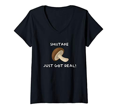 - Womens Funny Cute Mushroom T shirt for Mycologist Fungus Teacher V-Neck T-Shirt