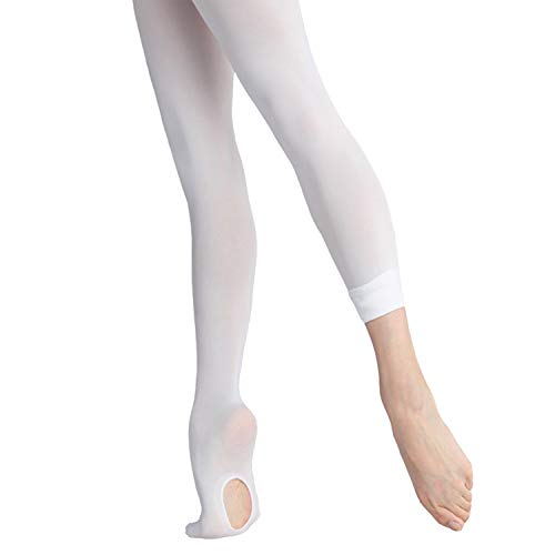 (DIPUG Ballet Tights for Girls Ultra Soft Transition Convertible Dance Tights for Toddler (White - 2 Tights, S))
