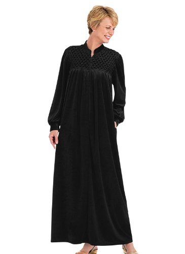 Long Zip-Front Robe, Color Black, Size LG