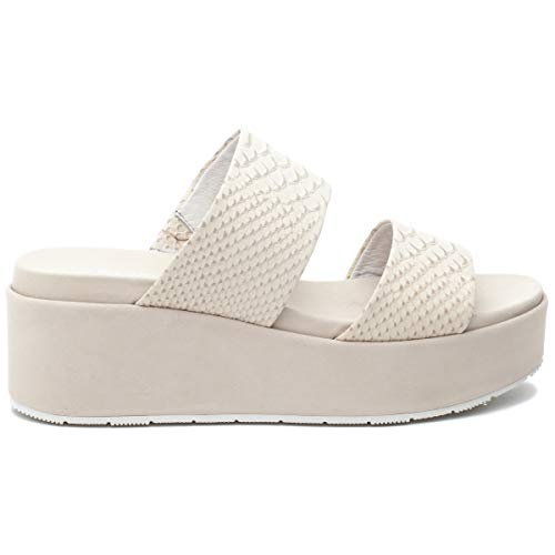 j/slides Women's Quincy Sandal Off White Embossed Leather Size 9