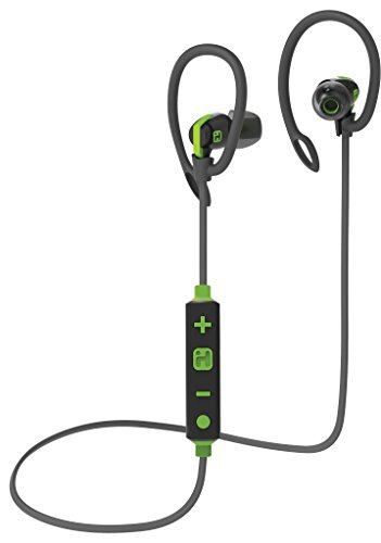 Bluetooth Wireless Water-Resistant Sport Earphones Mic Remote Sport Clips Gray/Green () - iHome iB79GQC