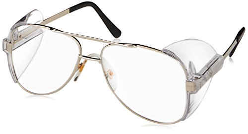 Crews 61110 Engineer Aviator Shape 58-mm Safety Glasses with Gold Frame and Clear Lens, - Napoleon Glasses Dynamite