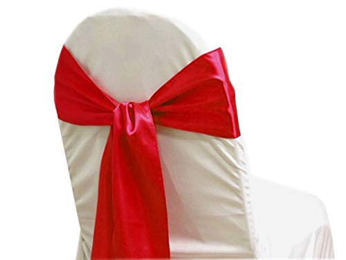 mds Pack of 50 Satin Chair Sashes Bow sash for Wedding and Events Supplies Party Decoration Chair Cover sash ()