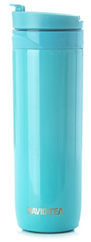 DAVIDsTEA Tea Press Double-Walled Stainless Steel Travel Mug for Loose Tea, Teal, 16 oz / 473 ml -