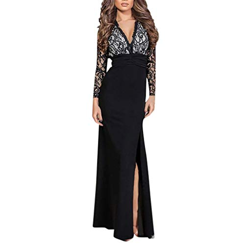 iLUGU Womens Off Shoulder Bell Sleeve High Slit Formal Evening Party Maxi Dress -