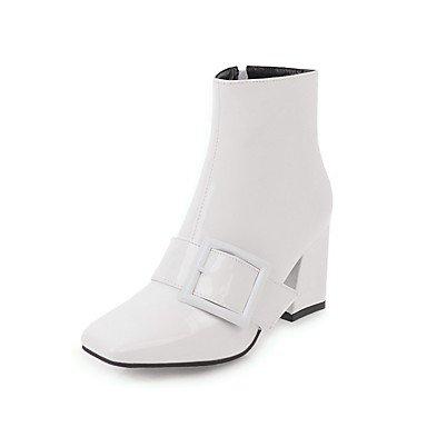US9 Vestimenta Talón Para Hebilla Botas CN41 Botas Primavera Otoño Calf Charol Toe Casual Mujer De Zapatos UK7 Botas Fashion Chunky De Cremallera Square RTRY Comodidad EU40 Mid FKfq1gRa