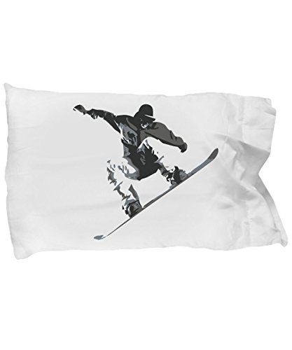 Tiny Giant T Shirts & Mugs Snow Boarder Graphic Pillowcase Bedding - Awesome Snowboard Snowboarding Pillow Case Cover - Fun Sport Bedroom - Standard Snowboarding