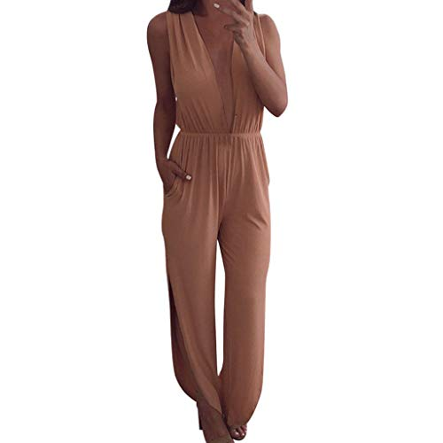 Caopixx Jumpsuit for Women Casual Long Pants Loose Wide Legs Jumpsuits Rompers V Neck Pockets Pink