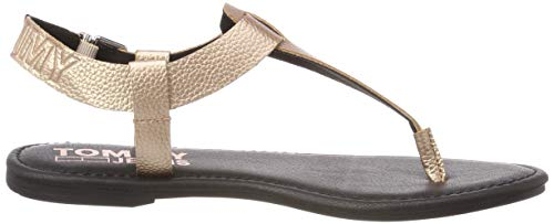 Rosa Shiny Denim Metallic Gold Sandal Donna rose Hilfiger Infradito 652 Flat 0T577xq