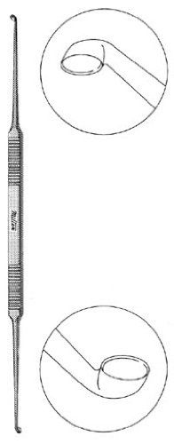 Miltex 19-2529 Double Ended House Curette with Flat Handle, Strong Angle, Oval Cups, 178 mm Length by Miltex