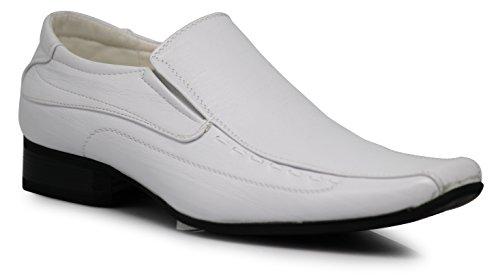 Enzo Romeo JAS Men's Dress Loafers Elastic Slip on with Plai