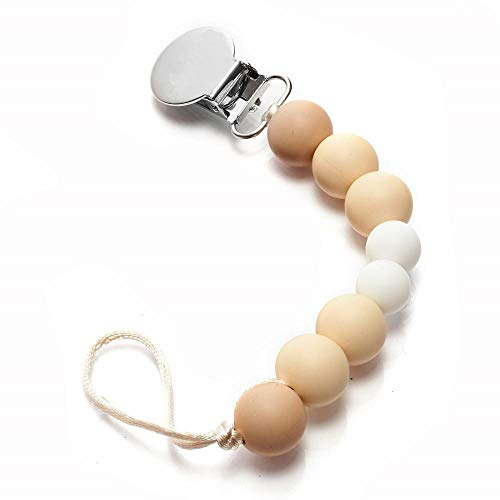 Best Mam Pacifier Clip for Baby - 100% BPA Free Silicone Teething Beads for Girls, Boys - Natural Color 8 Beads Binky Holder for Newborn Shower Gift (Beige/White)