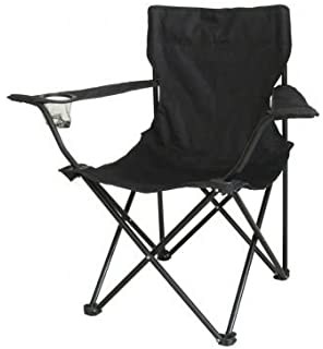 Black Folding Camping Chair Garden Fishing Outdoor Seat With Carry Bag